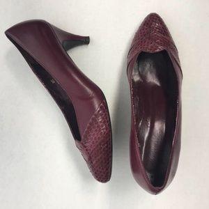 Vintage Magenta Leather Snakeskin Kitten Heels